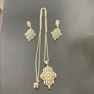 Kendra Scott necklace and earrings (gold)